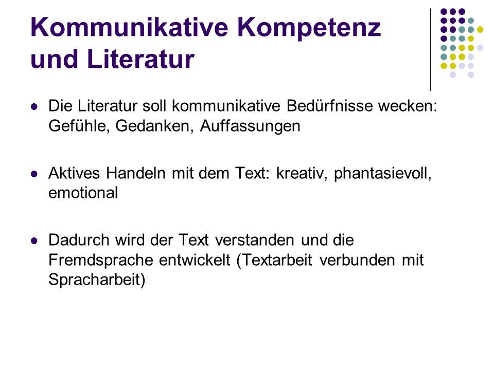 Kommunikative Kompetenz und Literatur Die Literatur soll kommunikative Bedürfnisse wecken: Gefühle, Gedanken, Auffassungen Aktives Handeln mit dem Tex
