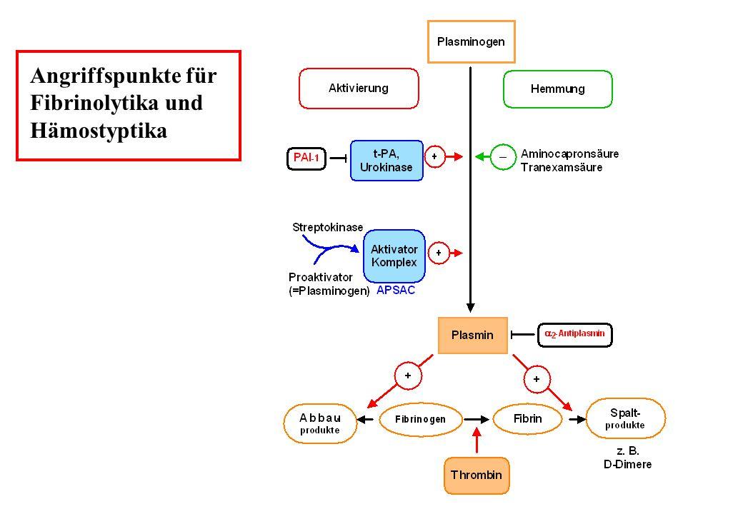 Angriffspunkte für Fibrinolytika und Hämostyptika