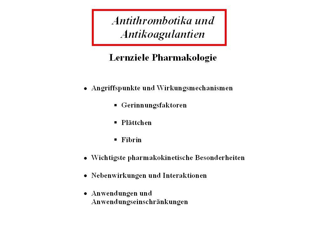 Pharmakokinetische und pharmakodynamische Interaktionen von Cumarin-Antikoagulantien mit anderen Pharmaka HB=Hemmung der Biotransformation; PI=Plättchenfunktion; DB=Darmbakterien SB=Steigerung der Biotransformation; GF=Gerinnungsfaktoren; * Abnahme Bioverfügbarkeit