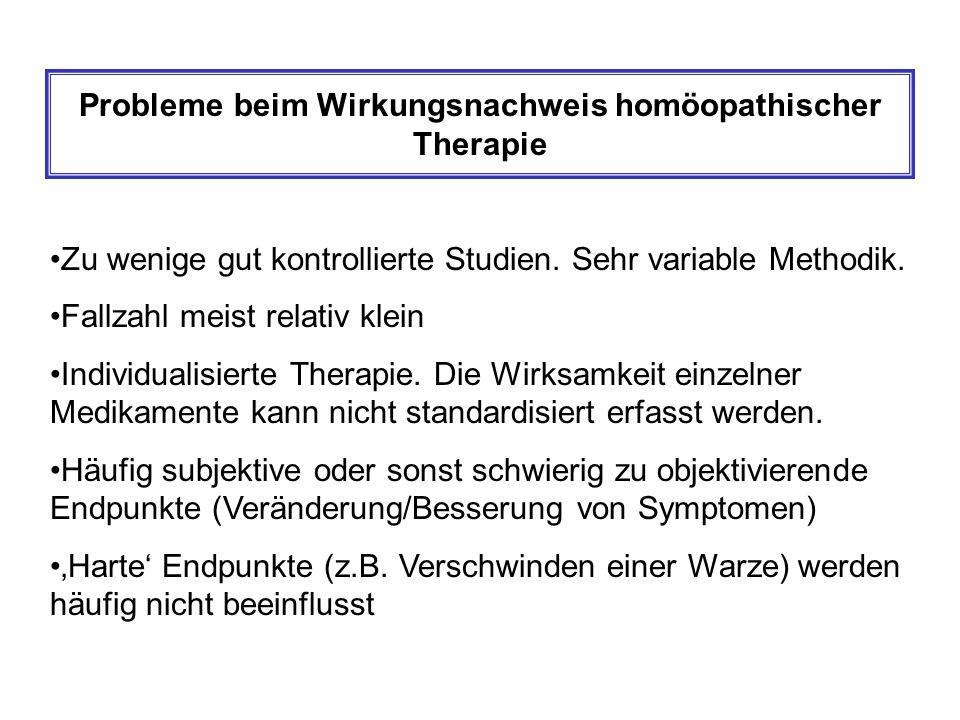 Probleme beim Wirkungsnachweis homöopathischer Therapie Zu wenige gut kontrollierte Studien.
