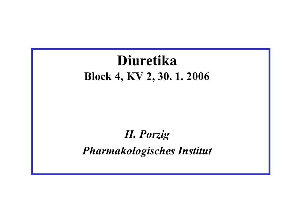 Lernziele 1.Physiologische Leistungen der Niere und Indikationsgebiete der Diuretika 2.Organisation der Transportsysteme in verschiedenen Abschnitten des Nephrons und ihre spezifische Beeinflussung durch Pharmaka 3.Pharmakokinetik von Diuretika 4.Unerwünschte Wirkungen von Diuretika und Wechselwirkungen mit anderen Pharmaka