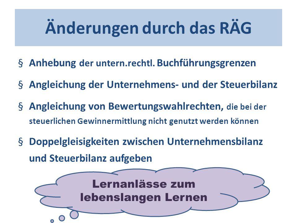 Änderungen durch das RÄG §Anhebung der untern.rechtl. Buchführungsgrenzen §Angleichung der Unternehmens- und der Steuerbilanz §Angleichung von Bewertu