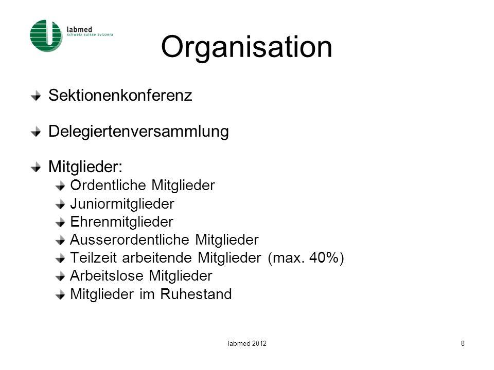 labmed 20128 Organisation Sektionenkonferenz Delegiertenversammlung Mitglieder: Ordentliche Mitglieder Juniormitglieder Ehrenmitglieder Ausserordentliche Mitglieder Teilzeit arbeitende Mitglieder (max.