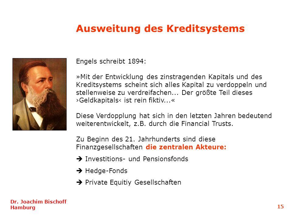 Ausweitung des Kreditsystems Engels schreibt 1894: »Mit der Entwicklung des zinstragenden Kapitals und des Kreditsystems scheint sich alles Kapital zu verdoppeln und stellenweise zu verdreifachen...