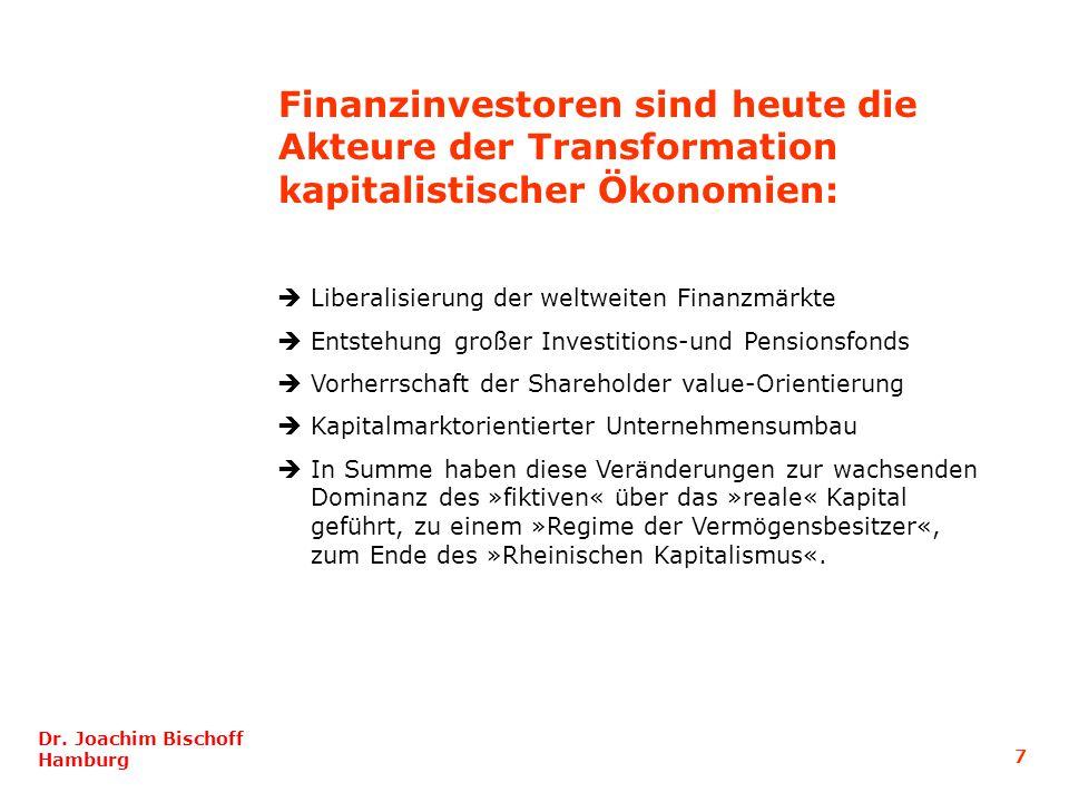 Liberalisierung der weltweiten Finanzmärkte Entstehung großer Investitions-und Pensionsfonds Vorherrschaft der Shareholder value-Orientierung Kapitalm