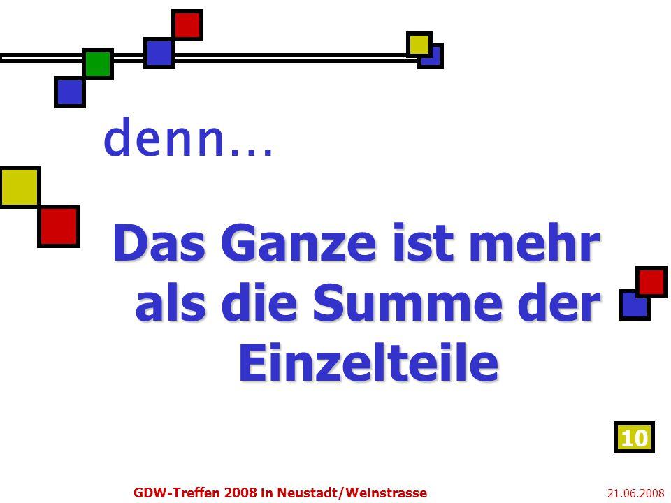 21.06.2008 GDW-Treffen 2008 in Neustadt/Weinstrasse 10 denn… Das Ganze ist mehr als die Summe der Einzelteile