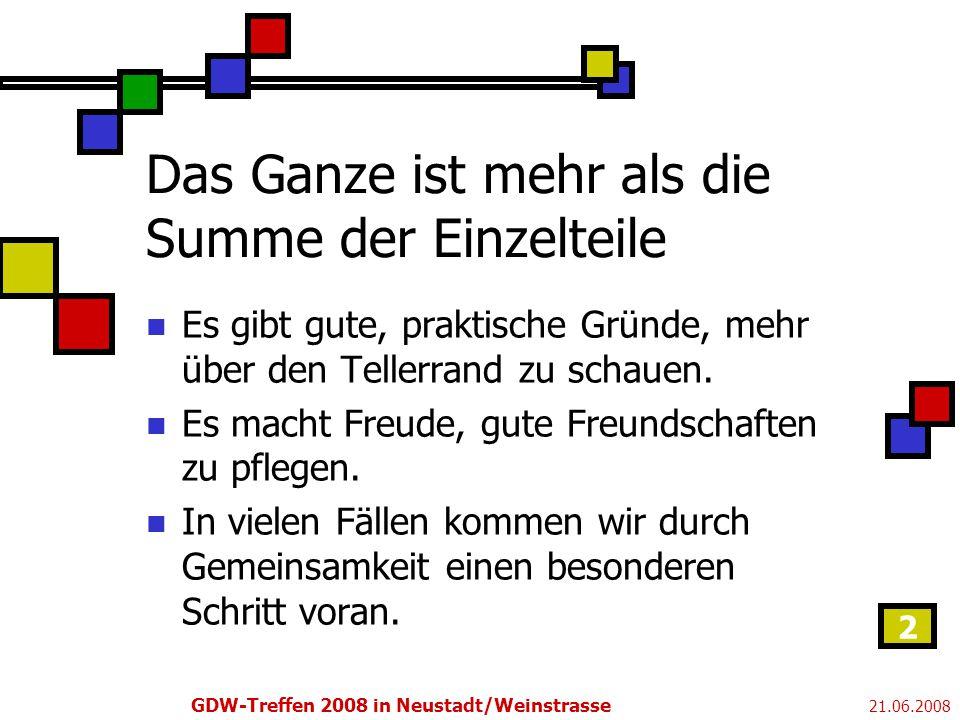 21.06.2008 GDW-Treffen 2008 in Neustadt/Weinstrasse 2 Das Ganze ist mehr als die Summe der Einzelteile Es gibt gute, praktische Gründe, mehr über den Tellerrand zu schauen.