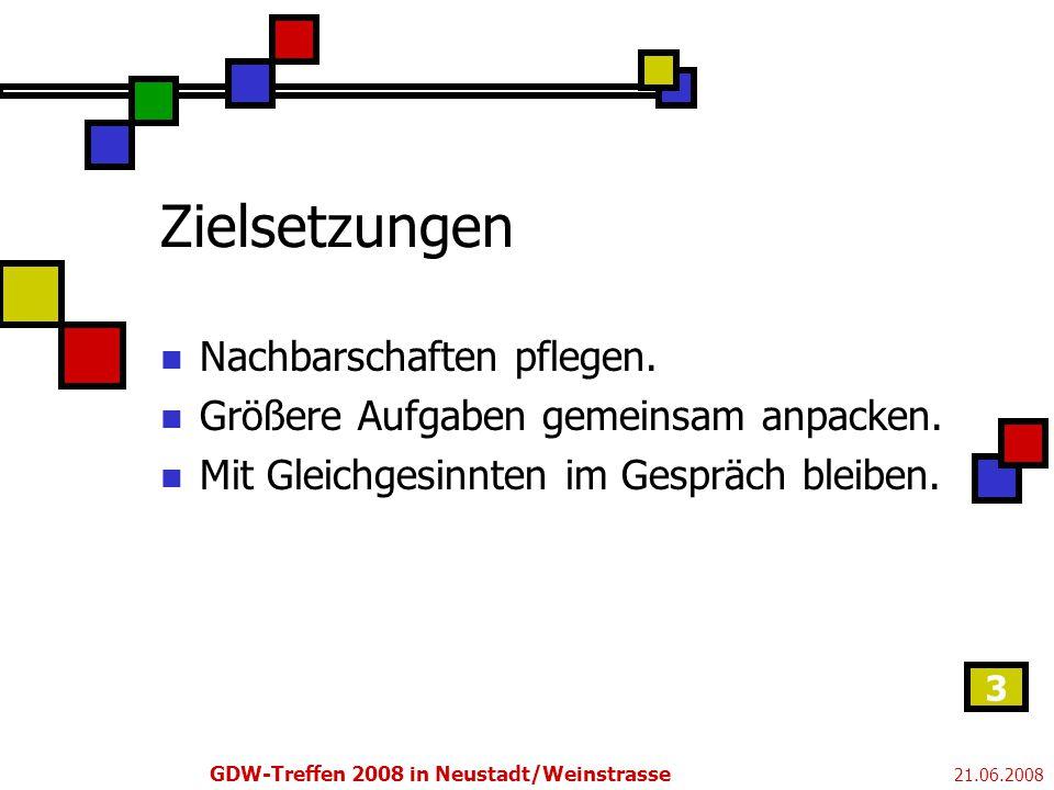 21.06.2008 GDW-Treffen 2008 in Neustadt/Weinstrasse 3 Zielsetzungen Nachbarschaften pflegen.
