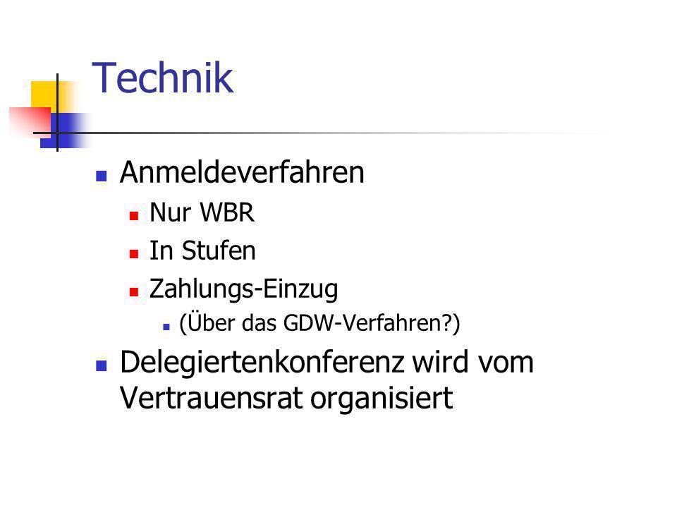 Technik Anmeldeverfahren Nur WBR In Stufen Zahlungs-Einzug (Über das GDW-Verfahren?) Delegiertenkonferenz wird vom Vertrauensrat organisiert