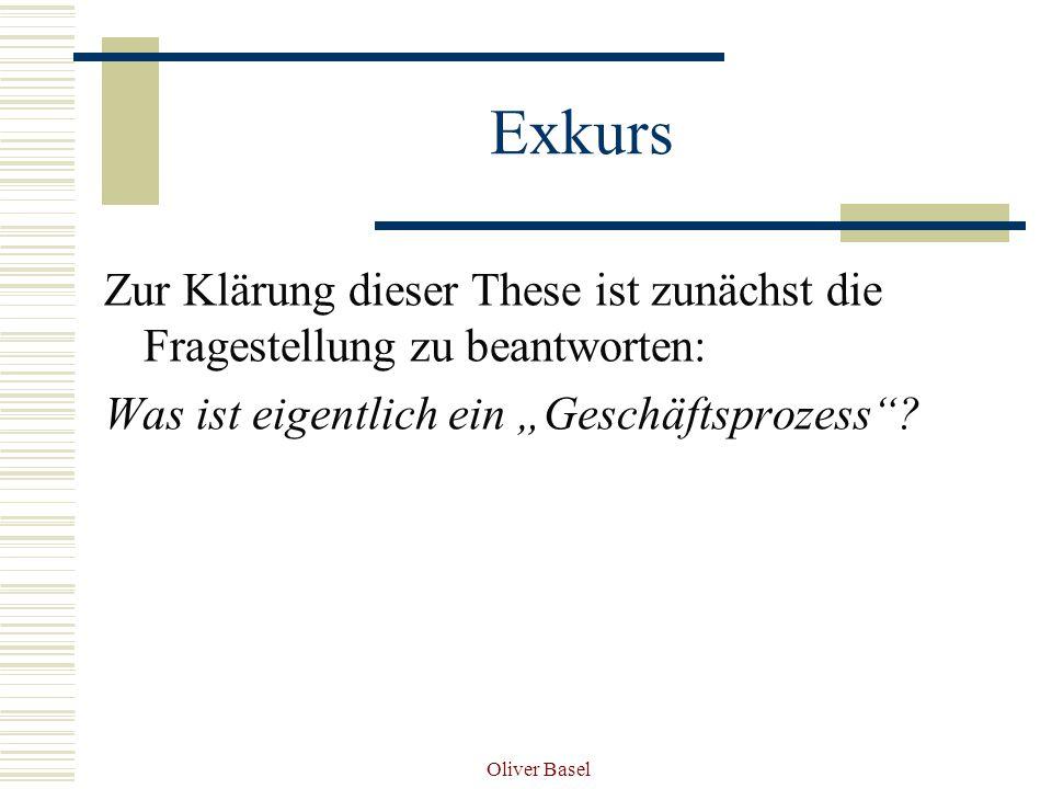 Oliver Basel Exkurs Zur Klärung dieser These ist zunächst die Fragestellung zu beantworten: Was ist eigentlich ein Geschäftsprozess?