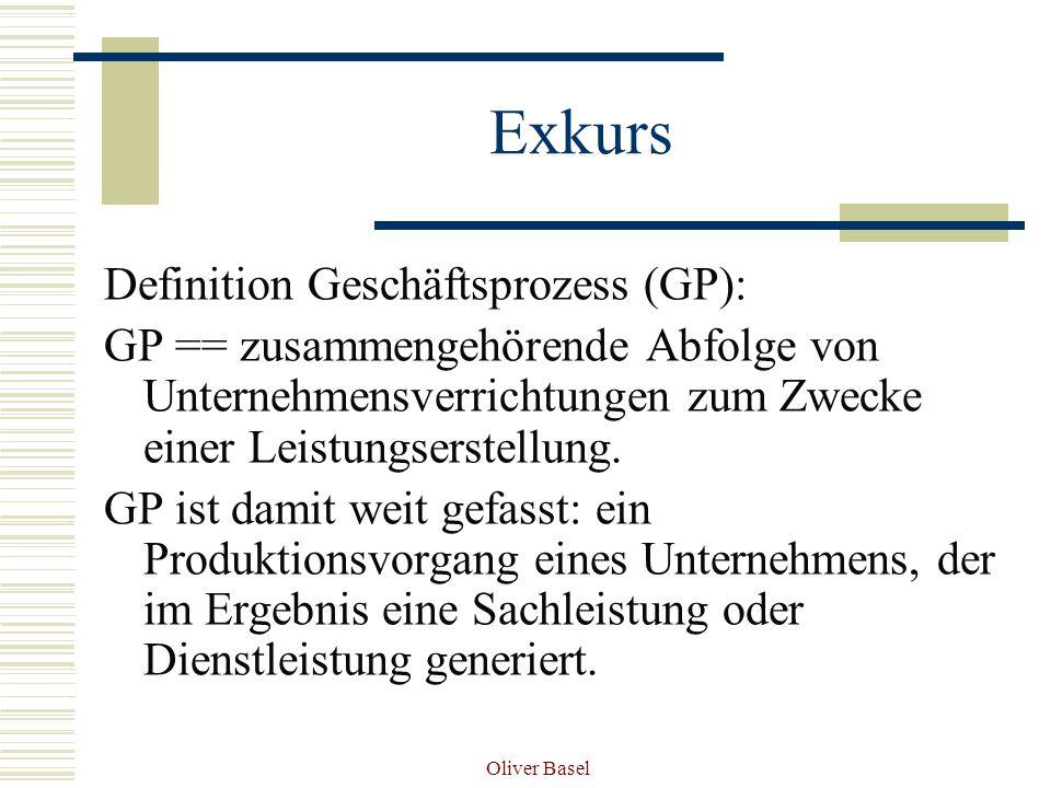 Oliver Basel Exkurs Definition Geschäftsprozess (GP): GP == zusammengehörende Abfolge von Unternehmensverrichtungen zum Zwecke einer Leistungserstellung.