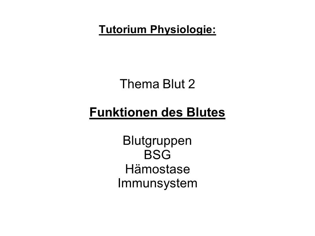 BSG: Blutkörperchensenkungsgeschwindigkeit nach Westergren Dichte Ery 1,1kg/l Plasma 1,03kg/l Mann 1h 5mm / 2h 15mm Frau 1h 8mm / 2h 20mm Aggglomerat Stokesche`s Prinzip kleinere Oberfläche aber selbes Volumen Agglomerine Plasmaproteine HKT