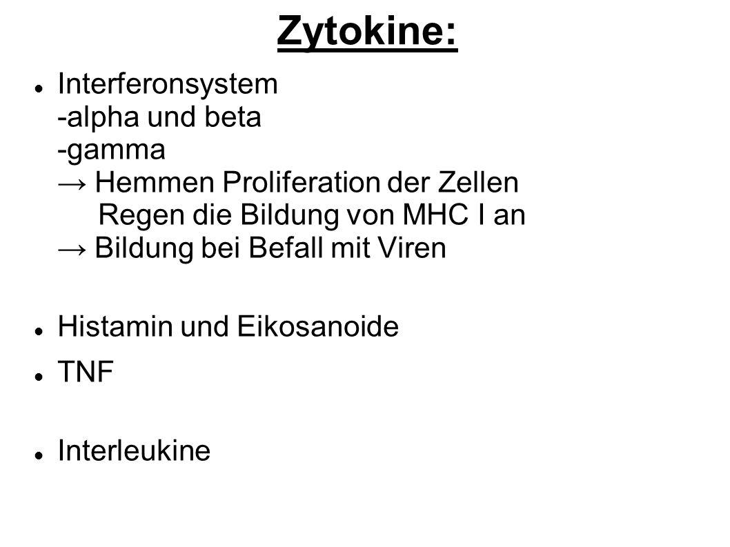 Zytokine: Interferonsystem -alpha und beta -gamma Hemmen Proliferation der Zellen Regen die Bildung von MHC I an Bildung bei Befall mit Viren Histamin und Eikosanoide TNF Interleukine