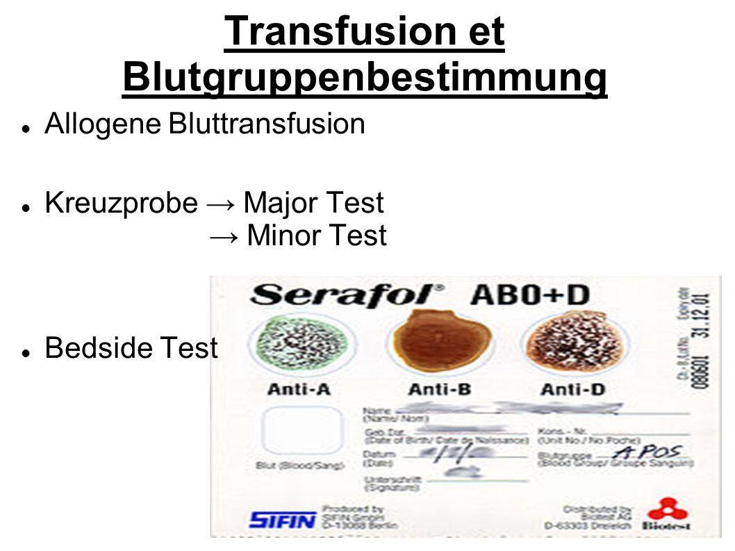 Transfusion et Blutgruppenbestimmung Allogene Bluttransfusion Kreuzprobe Major Test Minor Test Bedside Test