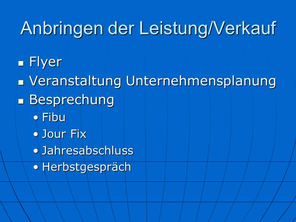 Anbringen der Leistung/Verkauf Flyer Flyer Veranstaltung Unternehmensplanung Veranstaltung Unternehmensplanung Besprechung Besprechung FibuFibu Jour F