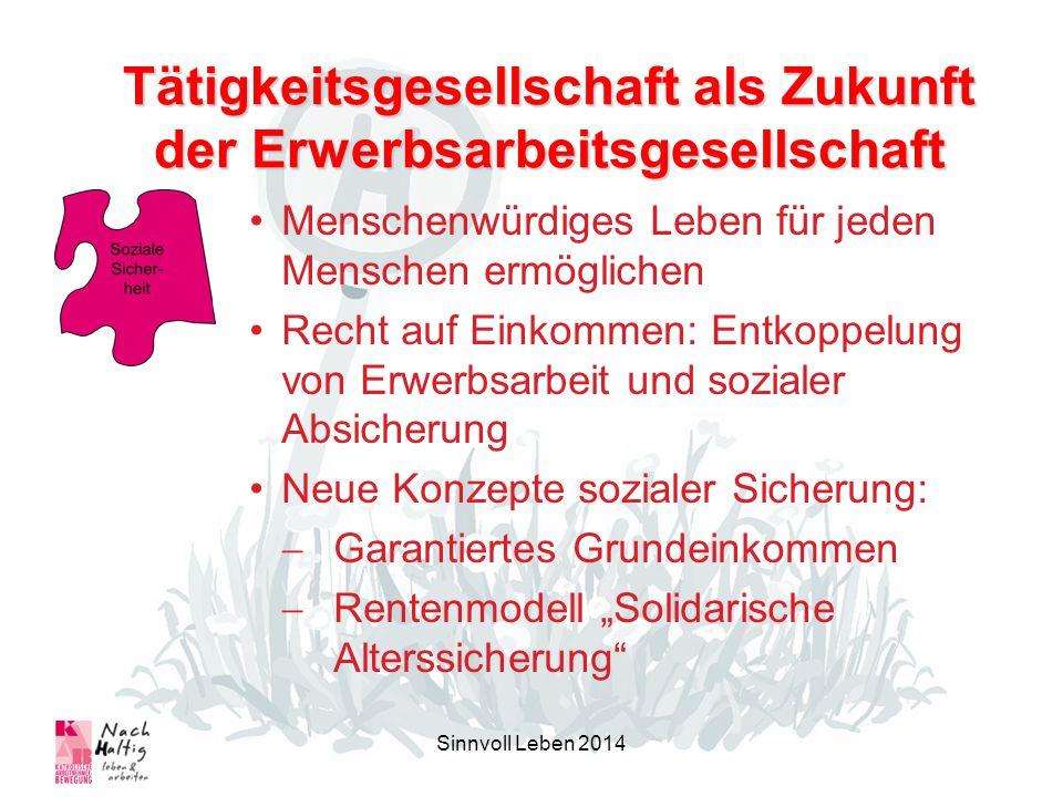 Sinnvoll Leben 2014 Menschenwürdiges Leben für jeden Menschen ermöglichen Recht auf Einkommen: Entkoppelung von Erwerbsarbeit und sozialer Absicherung