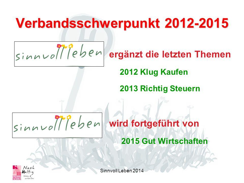 Verbandsschwerpunkt 2012-2015 ergänzt die letzten Themen 2012 Klug Kaufen 2013 Richtig Steuern wird fortgeführt von 2015 Gut Wirtschaften Sinnvoll Leben 2014
