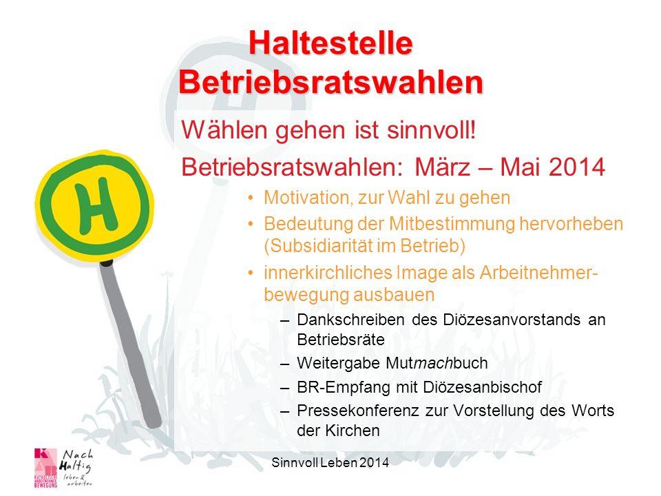 Haltestelle Betriebsratswahlen Wählen gehen ist sinnvoll! Betriebsratswahlen: März – Mai 2014 Motivation, zur Wahl zu gehen Bedeutung der Mitbestimmun
