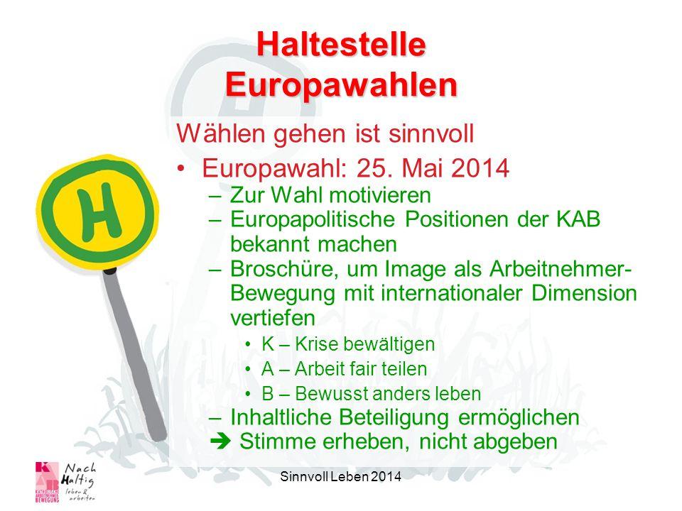 Haltestelle Europawahlen Wählen gehen ist sinnvoll Europawahl: 25. Mai 2014 –Zur Wahl motivieren –Europapolitische Positionen der KAB bekannt machen –