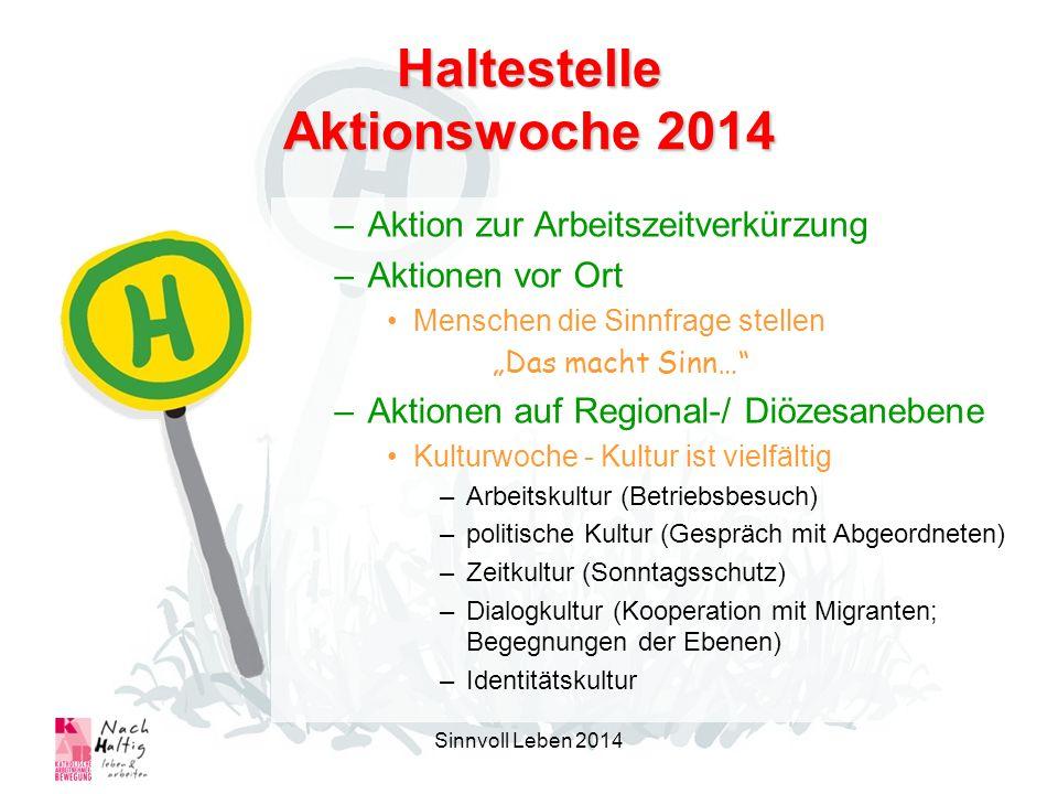 Haltestelle Aktionswoche 2014 –Aktion zur Arbeitszeitverkürzung –Aktionen vor Ort Menschen die Sinnfrage stellen Das macht Sinn… –Aktionen auf Regiona
