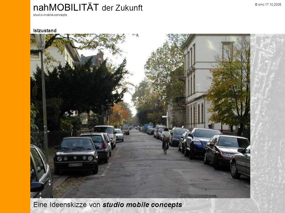 © smc 17.10.2005 nahMOBILITÄT der Zukunft studio-mobile-concepts RECHNUNG Lessingstraße Die Kosten für einen Kleinwagen (laut ADAC 2004) betragen im Durchschnitt jährlich 5.000,- Bei einem Verzicht auf das eigene Auto können mindestens 2.000,- im Jahr eingespart werden.