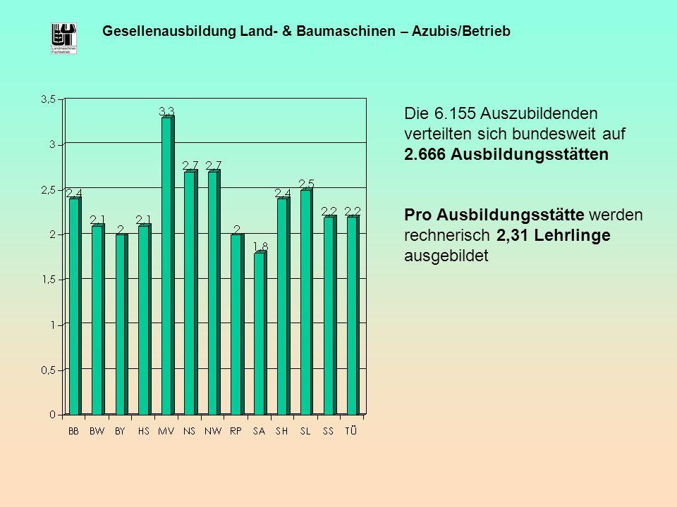 Gesellenausbildung Land- & Baumaschinen – Azubis/Betrieb Die 6.155 Auszubildenden verteilten sich bundesweit auf 2.666 Ausbildungsstätten Pro Ausbildu
