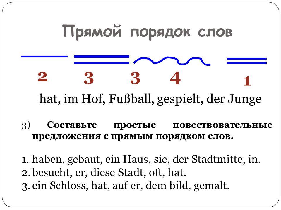 Прямой порядок слов hat, im Hof, Fußball, gespielt, der Junge 1 2343 3) Составьте простые повествовательные предложения с прямым порядком слов. 1.habe