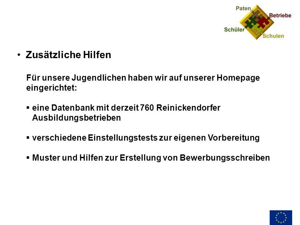 Zusätzliche Hilfen Für unsere Jugendlichen haben wir auf unserer Homepage eingerichtet: eine Datenbank mit derzeit 760 Reinickendorfer Ausbildungsbetr