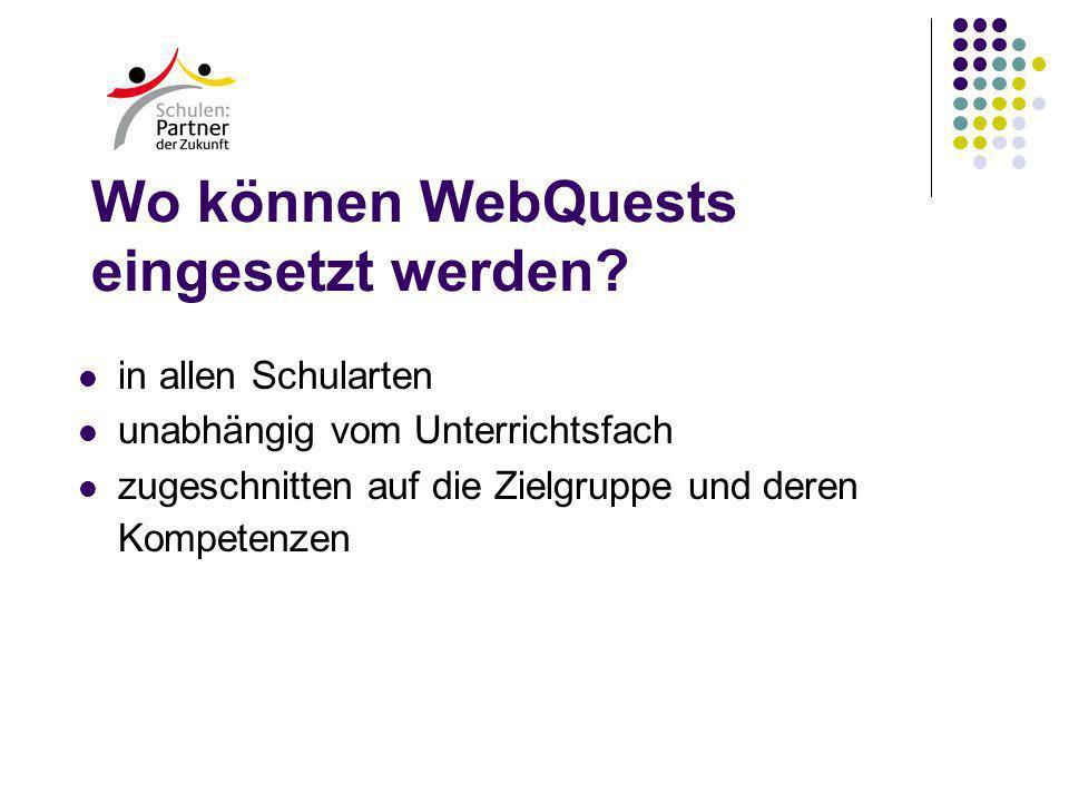 Wo können WebQuests eingesetzt werden.