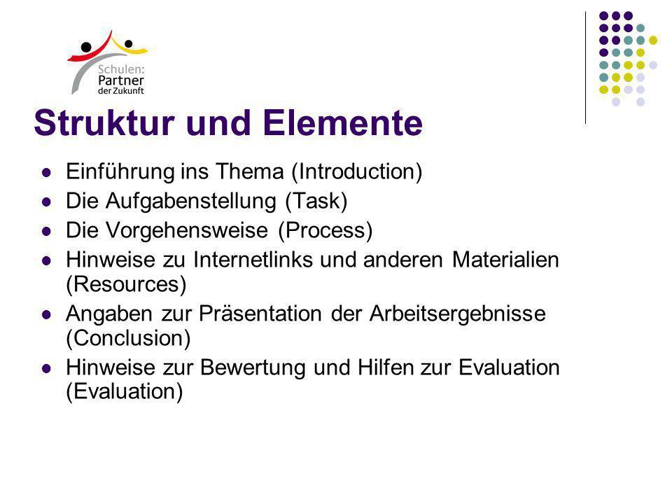 Struktur und Elemente Einführung ins Thema (Introduction) Die Aufgabenstellung (Task) Die Vorgehensweise (Process) Hinweise zu Internetlinks und anderen Materialien (Resources) Angaben zur Präsentation der Arbeitsergebnisse (Conclusion) Hinweise zur Bewertung und Hilfen zur Evaluation (Evaluation)