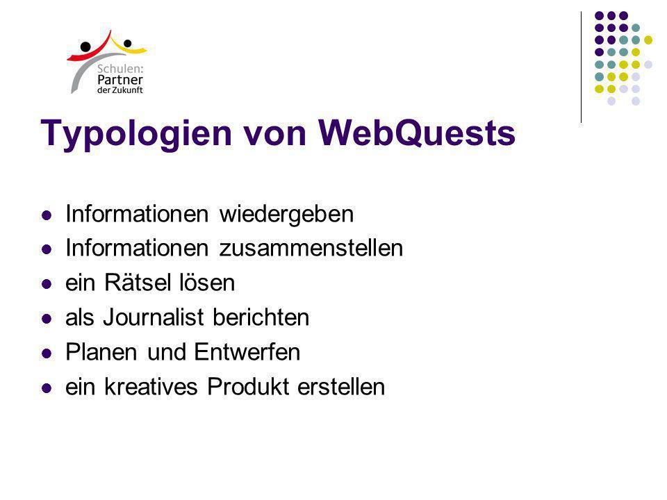 Typologien von WebQuests Informationen wiedergeben Informationen zusammenstellen ein Rätsel lösen als Journalist berichten Planen und Entwerfen ein kreatives Produkt erstellen
