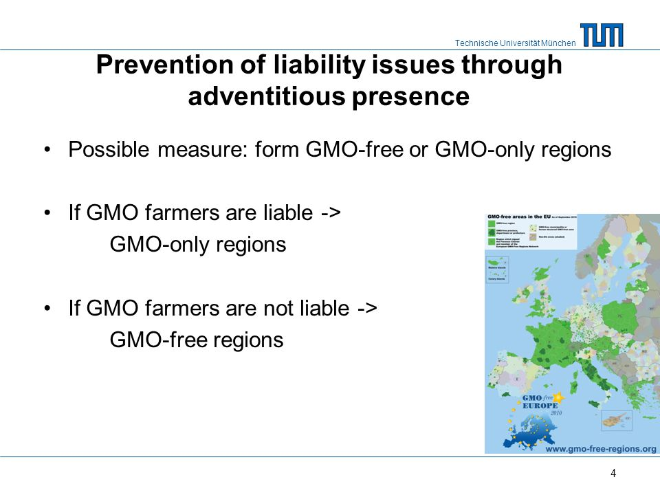 Technische Universität München Paper setup Do farmers have incentives to form GMO-free or GMO- only regions given liability and adventitious presence.