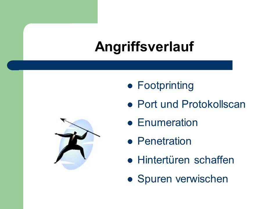Angriffsverlauf Footprinting Port und Protokollscan Enumeration Penetration Hintertüren schaffen Spuren verwischen