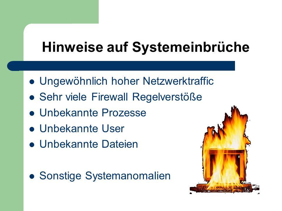 Hinweise auf Systemeinbrüche Ungewöhnlich hoher Netzwerktraffic Sehr viele Firewall Regelverstöße Unbekannte Prozesse Unbekannte User Unbekannte Dateien Sonstige Systemanomalien