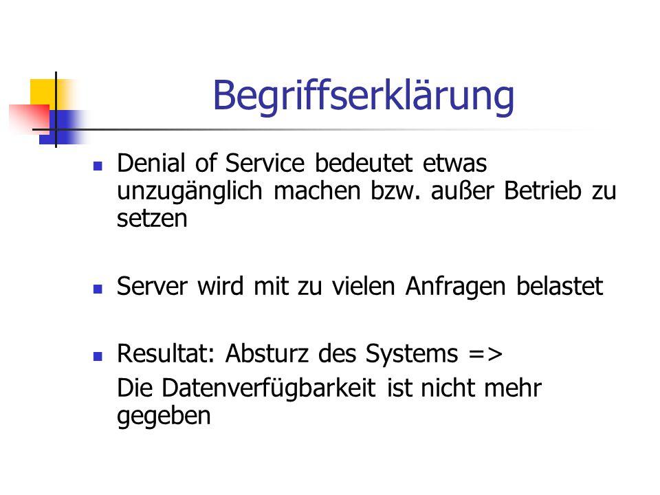 Begriffserklärung Denial of Service bedeutet etwas unzugänglich machen bzw. außer Betrieb zu setzen Server wird mit zu vielen Anfragen belastet Result