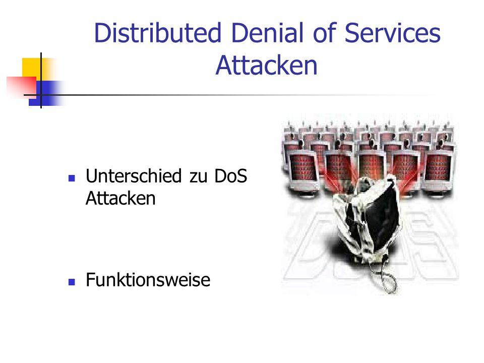 Distributed Denial of Services Attacken Unterschied zu DoS Attacken Funktionsweise