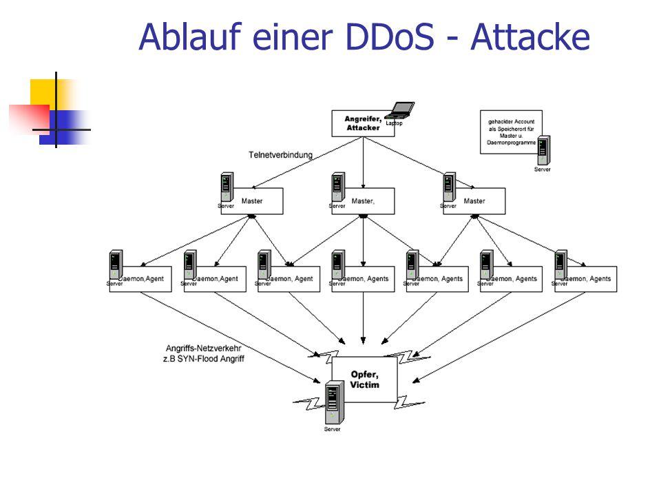 Ablauf einer DDoS - Attacke