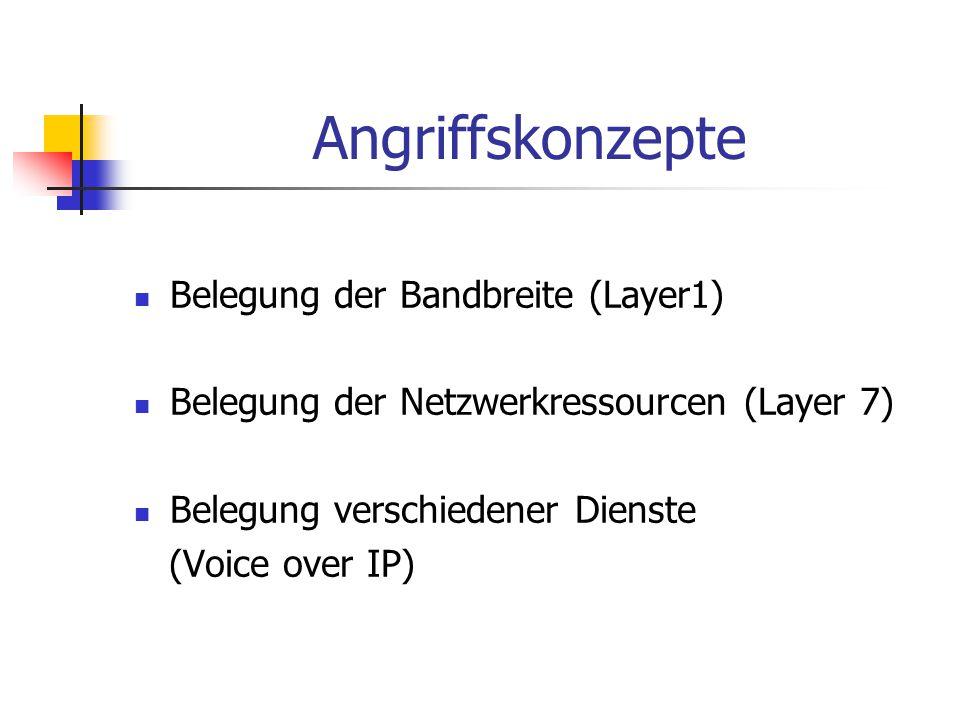Angriffskonzepte Belegung der Bandbreite (Layer1) Belegung der Netzwerkressourcen (Layer 7) Belegung verschiedener Dienste (Voice over IP)
