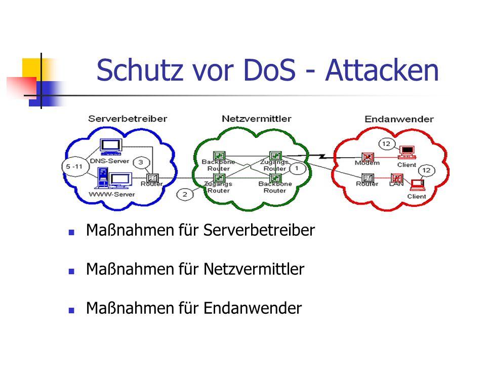 Schutz vor DoS - Attacken Maßnahmen für Serverbetreiber Maßnahmen für Netzvermittler Maßnahmen für Endanwender