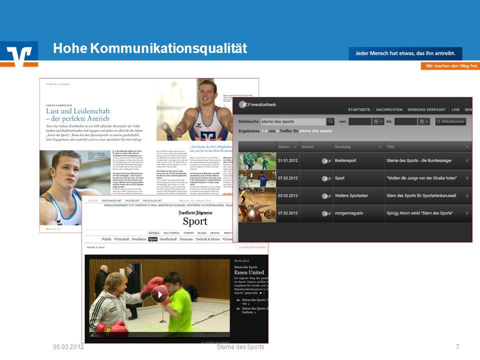 Hohe Kommunikationsqualität 05.03.20127Sterne des Sports