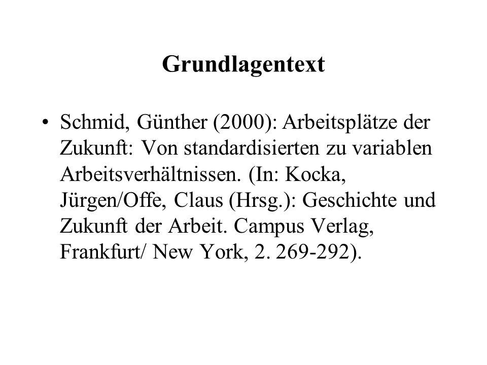 Grundlagentext Schmid, Günther (2000): Arbeitsplätze der Zukunft: Von standardisierten zu variablen Arbeitsverhältnissen.
