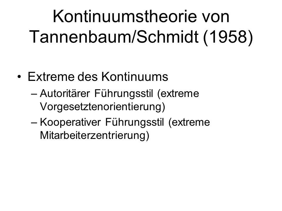 Kontinuumstheorie von Tannenbaum/Schmidt (1958) Extreme des Kontinuums –Autoritärer Führungsstil (extreme Vorgesetztenorientierung) –Kooperativer Führungsstil (extreme Mitarbeiterzentrierung)