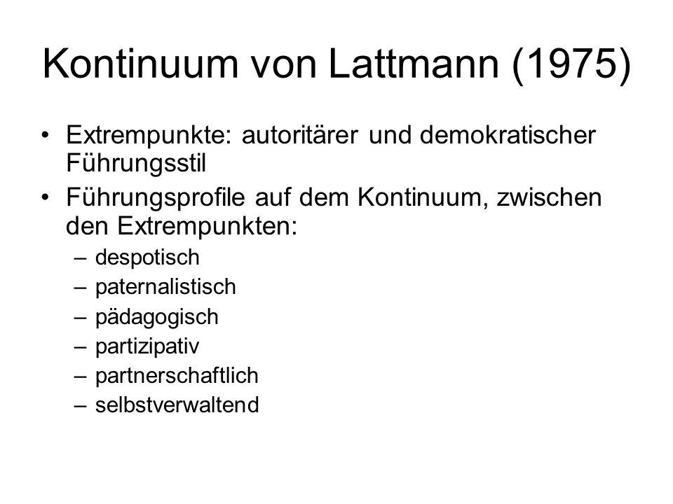 Kontinuum von Lattmann (1975) Extrempunkte: autoritärer und demokratischer Führungsstil Führungsprofile auf dem Kontinuum, zwischen den Extrempunkten: –despotisch –paternalistisch –pädagogisch –partizipativ –partnerschaftlich –selbstverwaltend