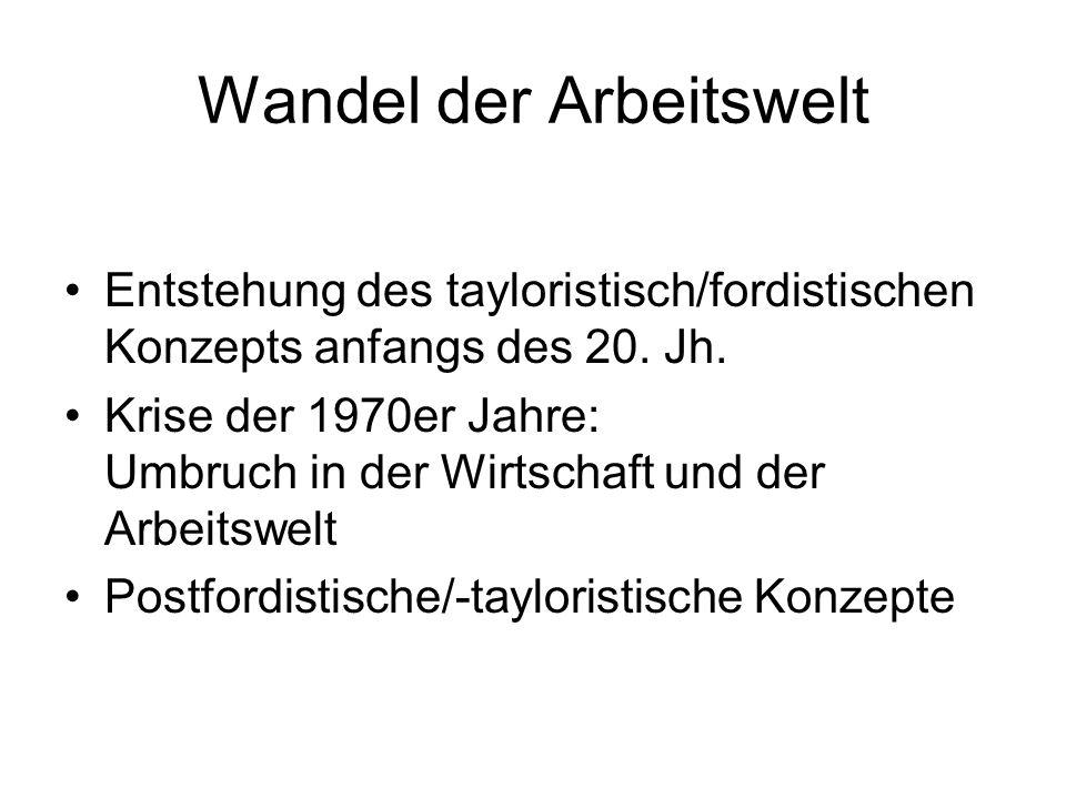Wandel der Arbeitswelt Entstehung des tayloristisch/fordistischen Konzepts anfangs des 20.