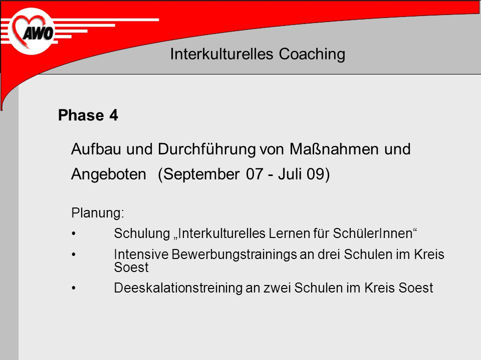 Interkulturelles Coaching Aufbau und Durchführung von Maßnahmen und Angeboten (September 07 - Juli 09) Planung: Schulung Interkulturelles Lernen für S