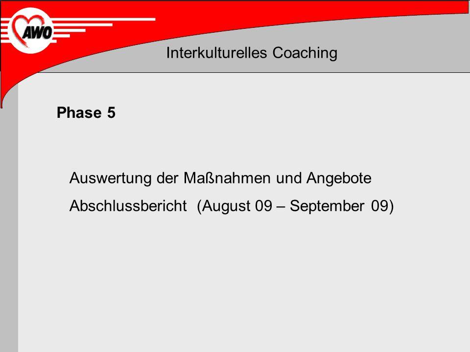 Interkulturelles Coaching Auswertung der Maßnahmen und Angebote Abschlussbericht (August 09 – September 09) Phase 5