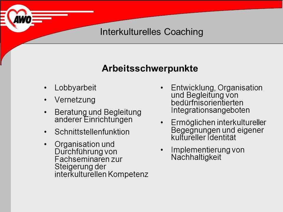 Interkulturelles Coaching Arbeitsschwerpunkte Lobbyarbeit Vernetzung Beratung und Begleitung anderer Einrichtungen Schnittstellenfunktion Organisation