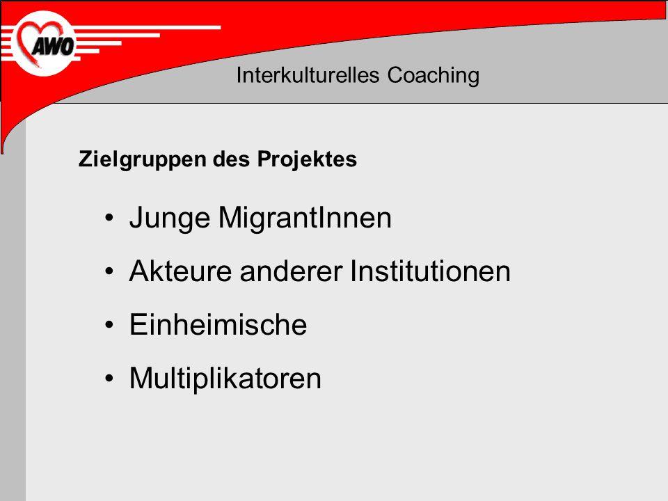 Interkulturelles Coaching Junge MigrantInnen Akteure anderer Institutionen Einheimische Multiplikatoren Zielgruppen des Projektes