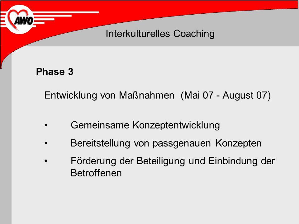 Interkulturelles Coaching Entwicklung von Maßnahmen (Mai 07 - August 07) Gemeinsame Konzeptentwicklung Bereitstellung von passgenauen Konzepten Förder