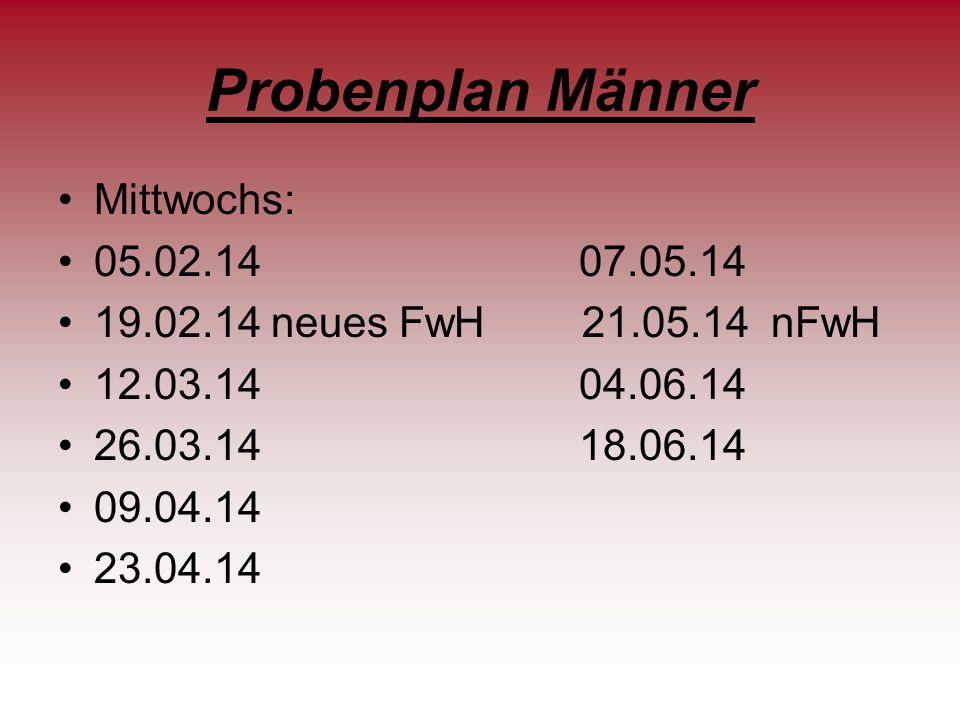 Probenplan Frauen Mittwochs 12.02.14 neues FwH 30.04.14 26.02.14 14.05.14 19.03.14 neues FwH 28.05.14 02.04.14.
